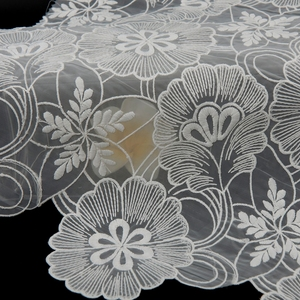 wholesale eco friendly custom flower embroidered organza wedding dress lace fabric