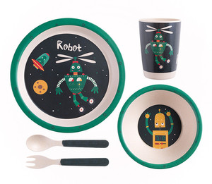 Eco Friendly Fancy Customized Bamboo Fiber Child Tableware Set
