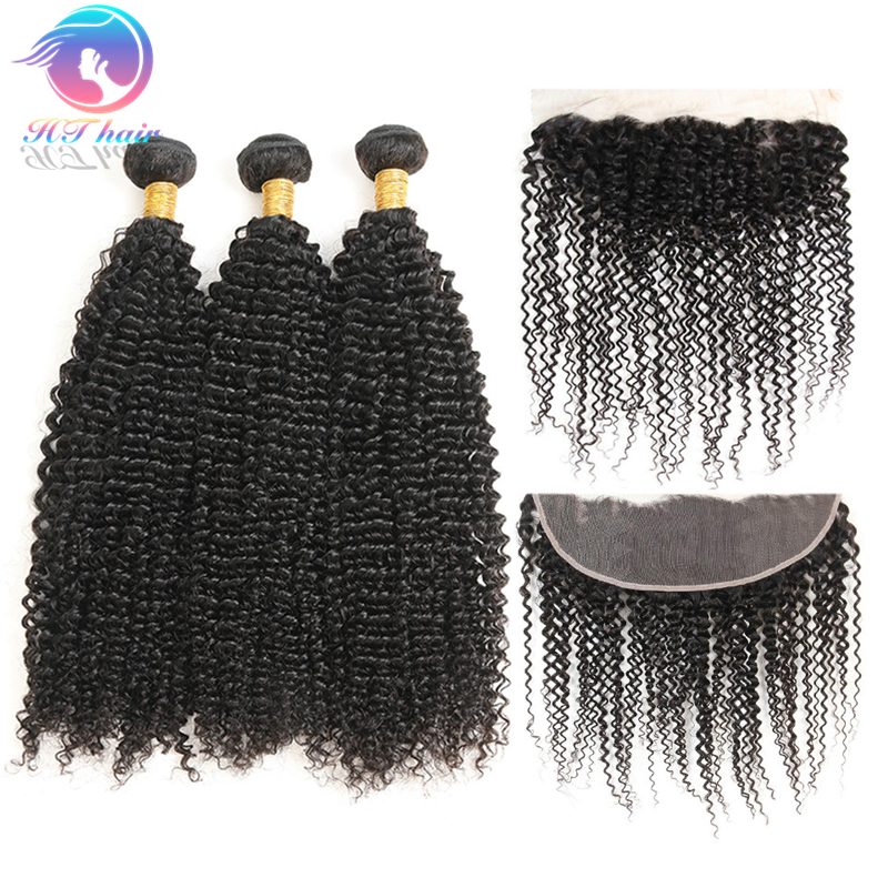 Factory Unprocessed Natural Color Kinky Curly Remy Virgin Human Hair Bundles Weaves With Frontal Closure фото