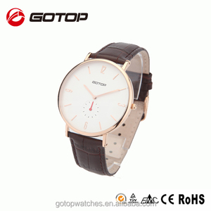 Black leather strap omax quartz watch stainless steel classic design price of western watches