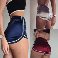 Hot Selling Casual Sports Workout Fluorescence Stripe Ladies Sports Shorts