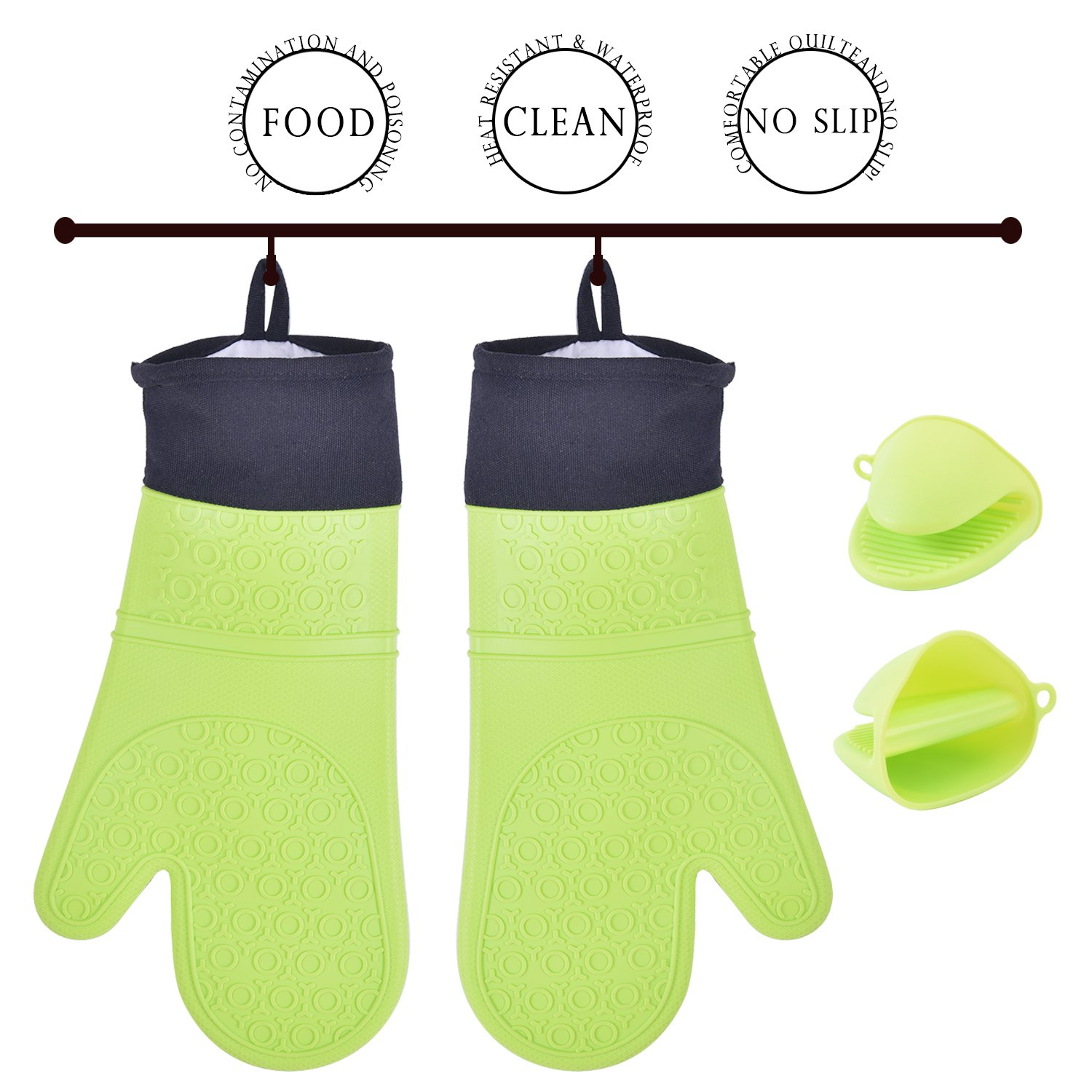 Barbecue Gloves, CrystalMX 4-Pack Waterproof Extra Long Quilted Cotton Lining Silicone Professional Heat Resistant Oven Mitts Potholder Gloves for Kitchen & Barbecue, (2 Large & 2 Mini), Green