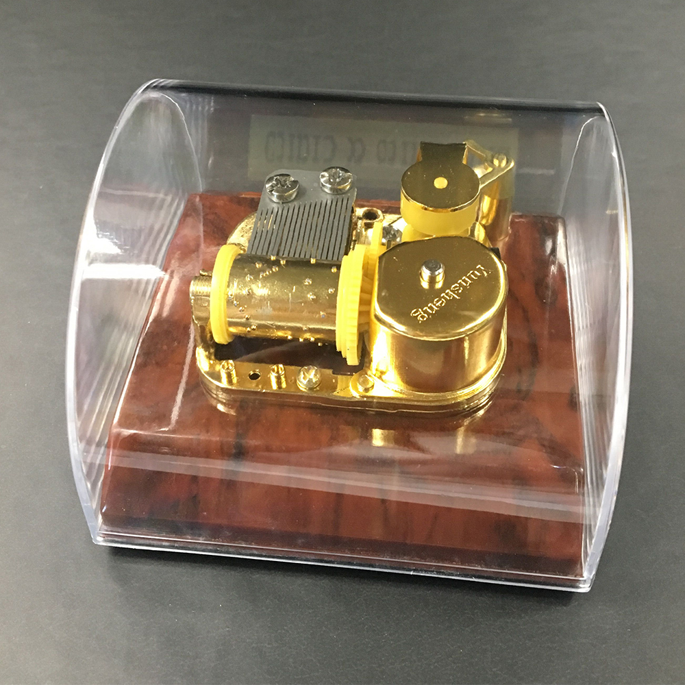 Transparent Arch Shaped Plastic Music Box with Stopper