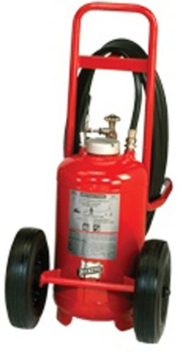 "Buckeye 31210 Pressure Transfer Standard Dry Chemical Fire Extinguisher with Semi Pneumatic Tires, 150 lbs Agent Capacity, 36"" Width x 58"" Height x 48"" Depth"