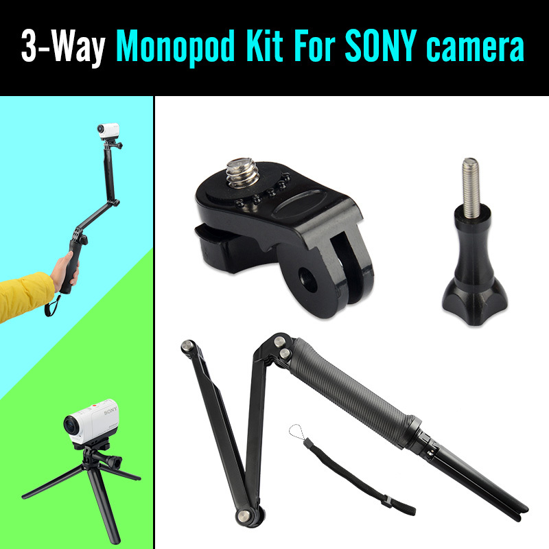 GoPro Monopod 3-Way Multi-function Folding Arm Self-timer Lever Tripod Mounts