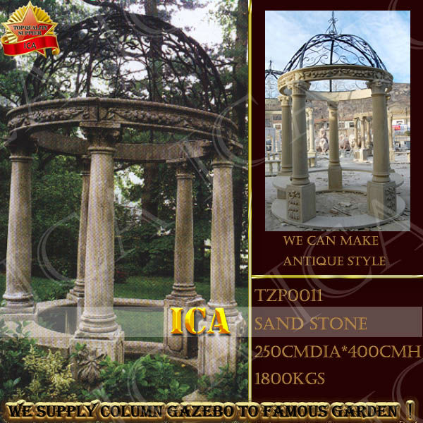 sandstone outdoor gazebo,column gazebo, outdoor round gazebo with iron top TZP0011