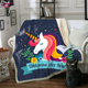 Sugar Unicorn 3d digital printed Velvet Plush Reversible Sherpa Blanket Black White Gothic Bedding Fleece Blankets