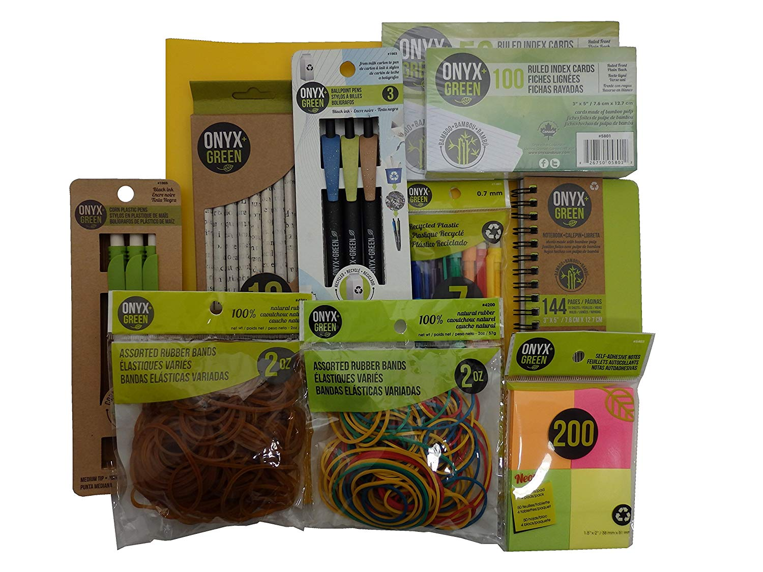 Recycled Sustainable Materials Green Eco Friendly School Office Supplies Kit - Pens Pencils Sticky Notes Notebook Natural Rubber Bands