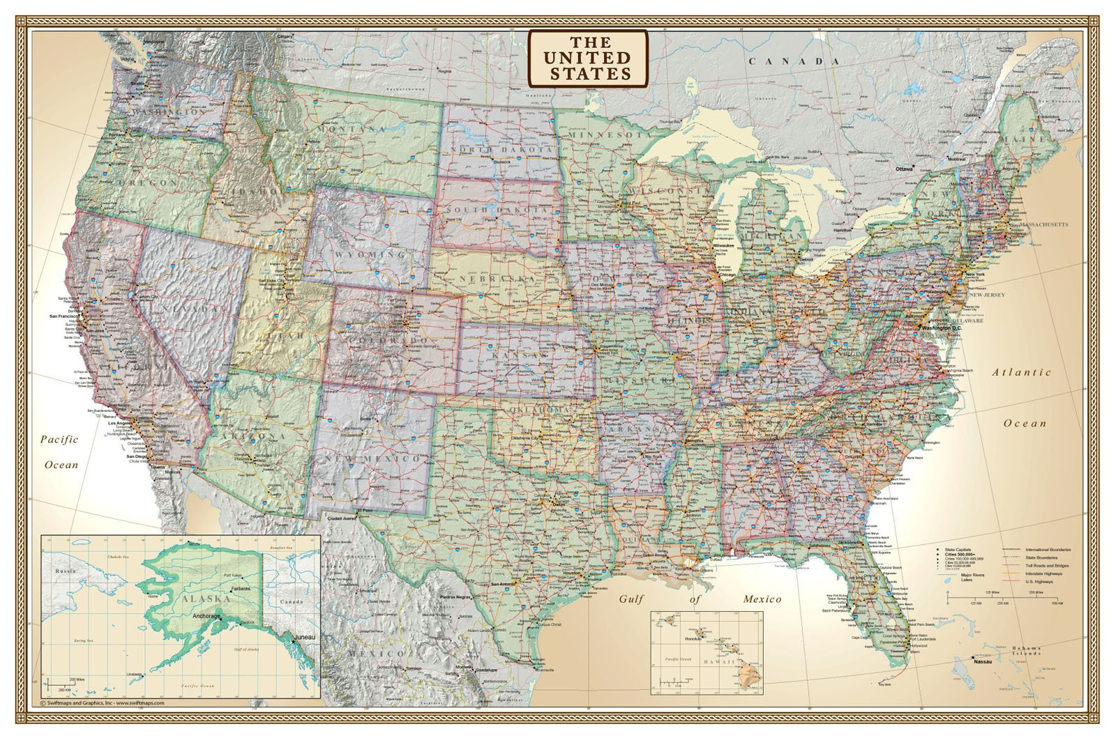 Buy United States Neutral Colorblock Map Wall Mural Wallpaper 8