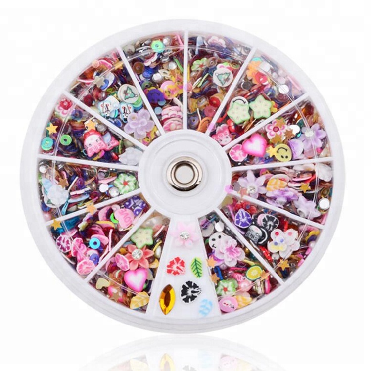 Mixed Design Resin Glitter Small Size Nail Charms polymer clay Nail Art Sticker
