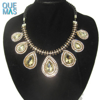 Latest Design Gold Necklace Drop Water dancing stone jewelry Full Rhinestone Choker Necklace Indian Statement Necklace 2017