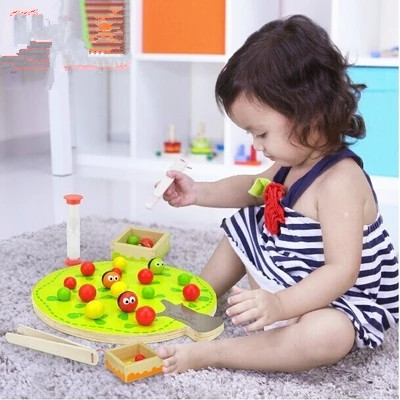 Funny educational wooden toy montessori colorful fruit tree clip balls hand eye coordination toy 1pc