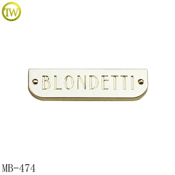 Small light gold metal plate logo stamped name metal brand tag for bags