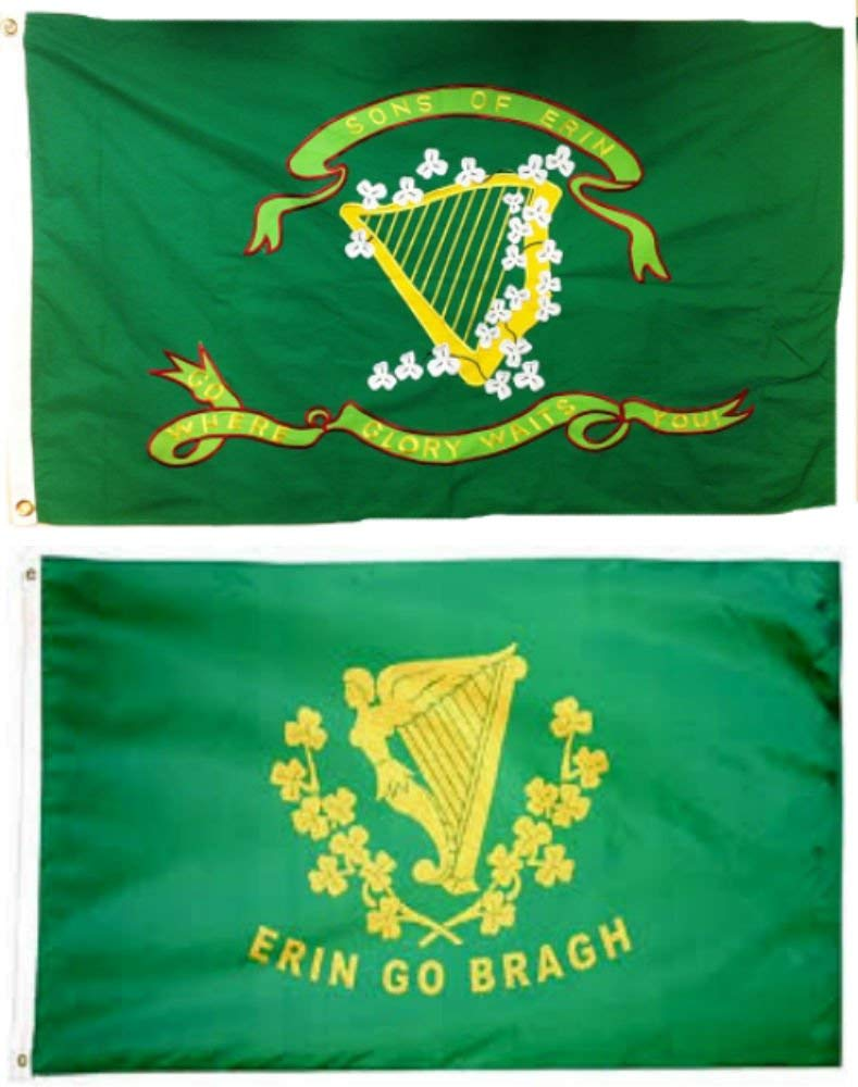 3x5 3'x5' Wholesale Combo Set Son's of Erin Irish & Erin Go Bragh 2 Flags Flag Fade Resistant Double Stitched Premium Quality