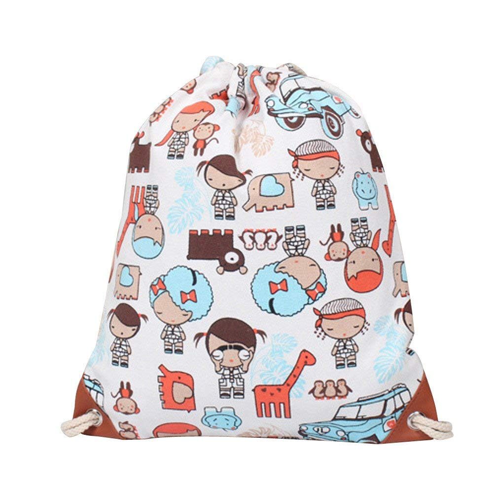 Theshy Cute Canvas Embossing Bags-Fashion Women Canvas Printing High Capacity Bucket Bag Backpack Shoulder Bag