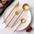 Equipment for restaurants and cafes luxury table ware stainless steel blue coloured handle cutlery gold tea spoon fork set