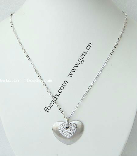Sterling Silver Necklaces, With Zircon, Heart, 36x36mm, Length:18 Inch, Sold by PC