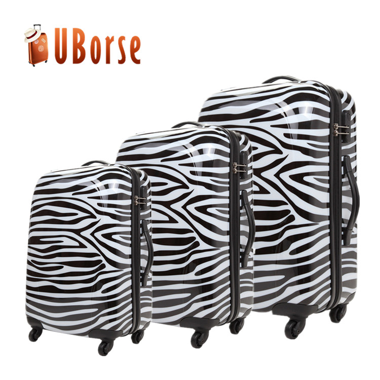 UBORSE Cartoon Printed Hard Shell wheeled Luggage ,3 Piece Trolley Luggage Set ,ABS PC Travel Suitcase Luggage With Zipper