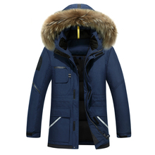 Thick Down Jacket Men 2017 Winter With Hood Detached Warm Waterproof Big Raccoon Fur Collar For -30 Degrees