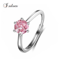 wholesale 925 sterling silver solitaire ring with pink saphire cz gemstone R30188