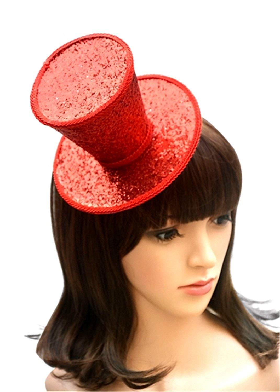 3b58e9d15fc09 Get Quotations · Zachaomero Gothic Glitter Mini Top Hat Party Wedding Dance Top  Hat Fascinator Women Hair Accessory Hair