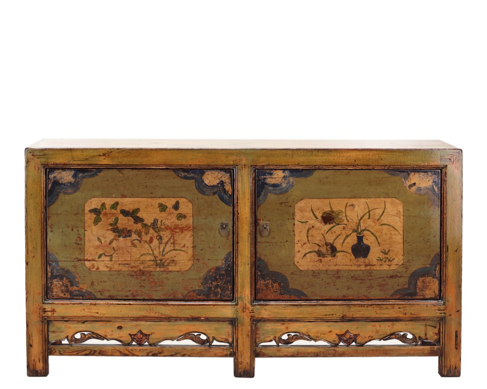 Chinese antique furniture oriental hand painted furniture reproduction solid wood cabinet