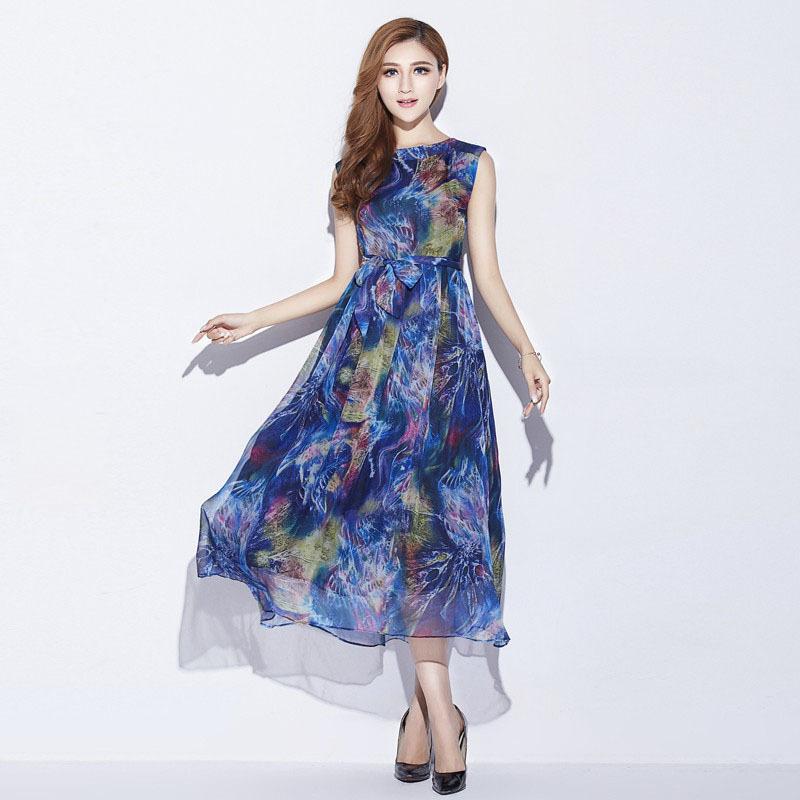 Women Silk Dress Plus Size 2015 New Arrival Bohemian Beach