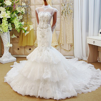 LS65002 Real Luxury Sequins Beads Diamonds Lace Wedding Dresses With Big Flower Keyhole Back Princess Bridal