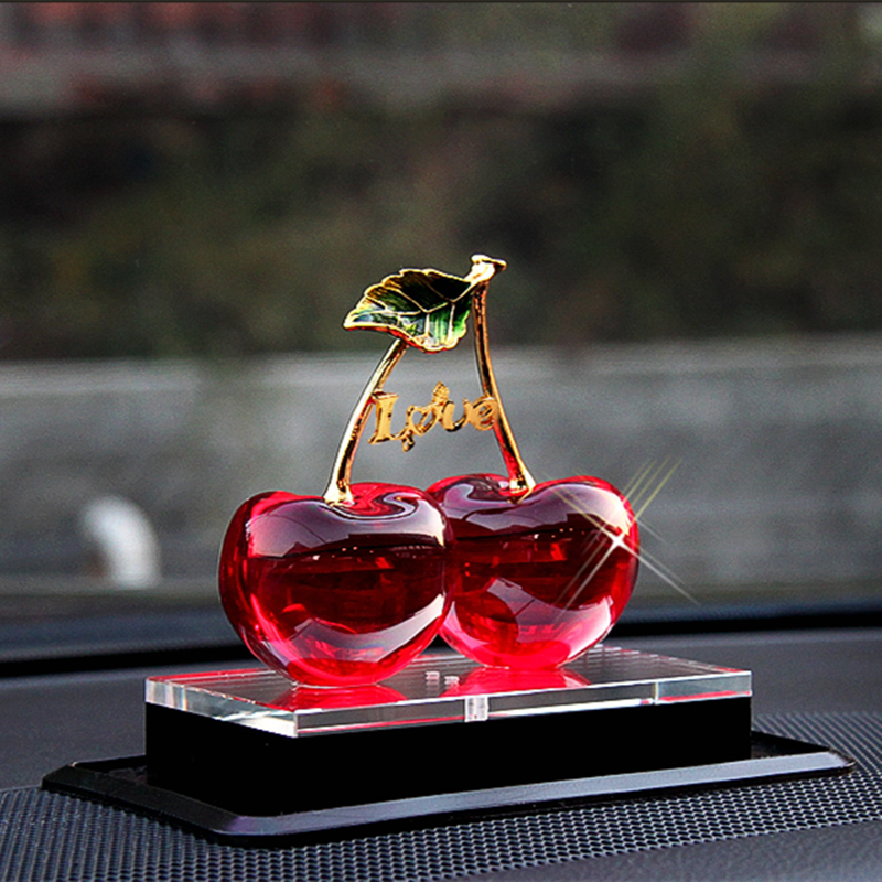 Love Crystal Glass Cherry Model With Base Craft For Car Decoration