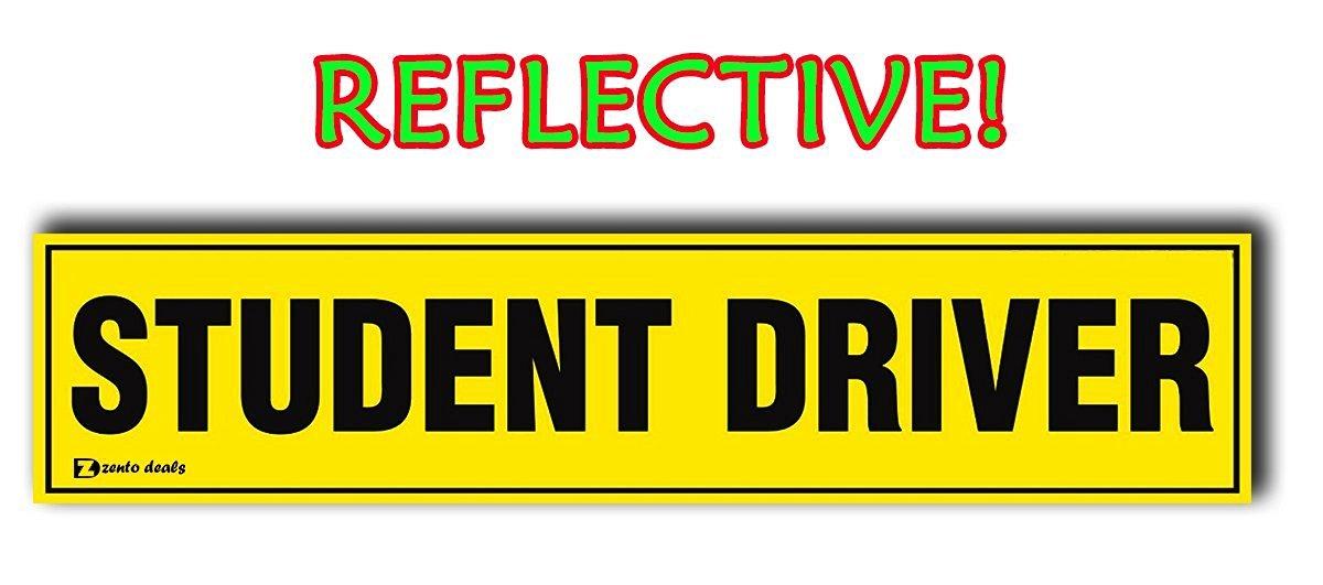 Zento Deals Student Driver Magnet REFLECTIVE Magnetic Vehicle Car Sign