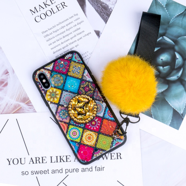 Wholesale 2019 good quality Fashion cute bling Fur Ball mobile phone <strong>case</strong> for Iphone x