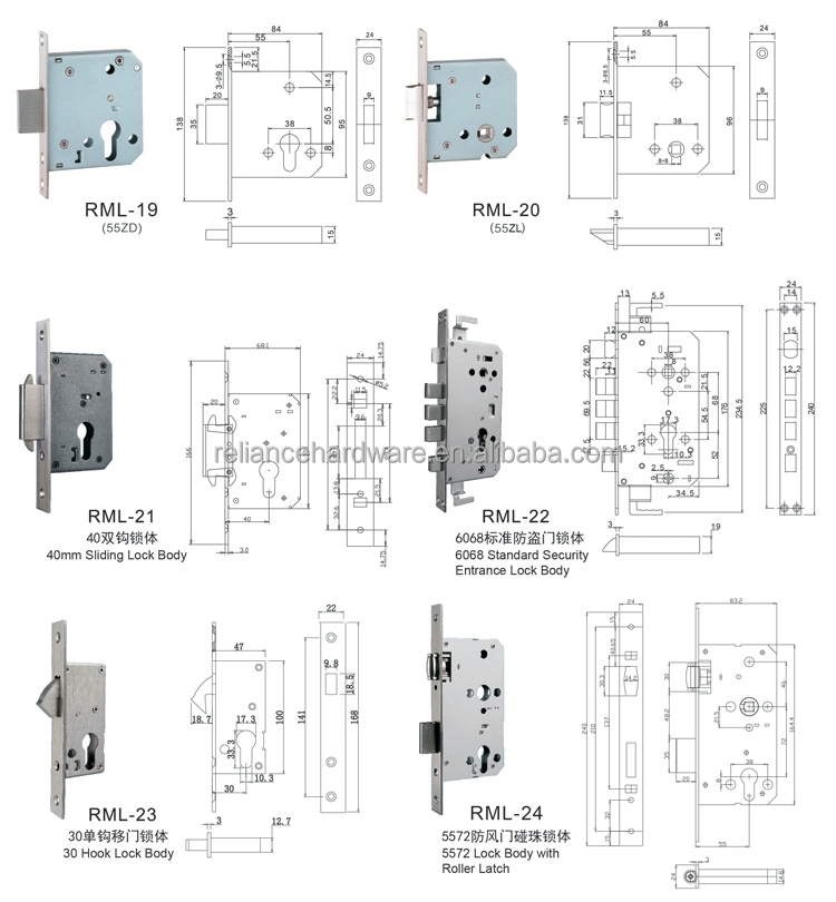 Wholesale high Quality Fireproof SS 304 Stainless Steel Door Lock Body made in china