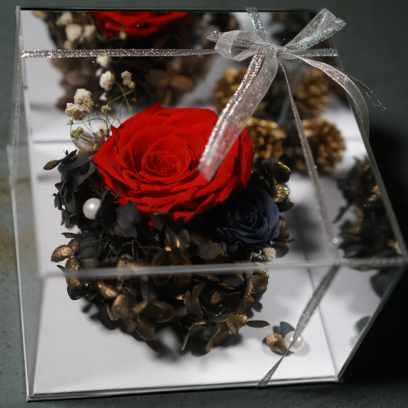 Customized luxury rose flower box square clear acrylic rose box for gift