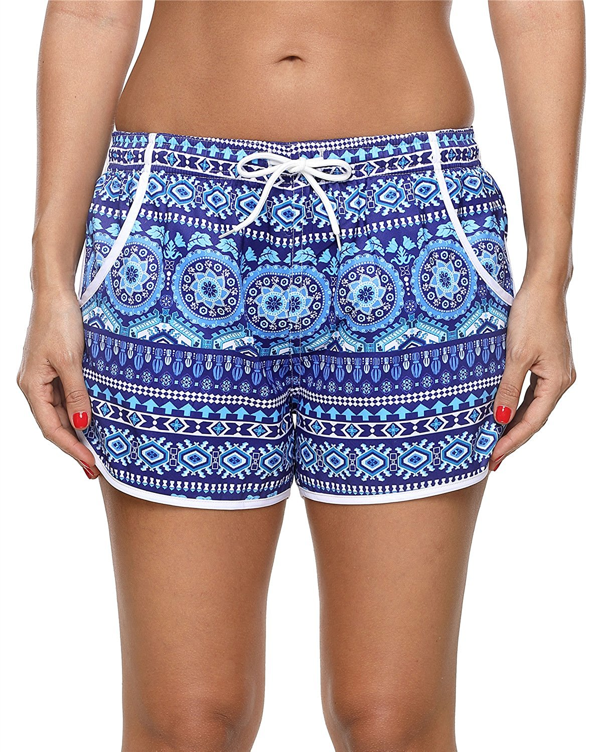 cc8eaaad0c Get Quotations · ALove Womens Stretch Board Shorts High Waisted Beach Bottom  Swim Shorts Swimsuit