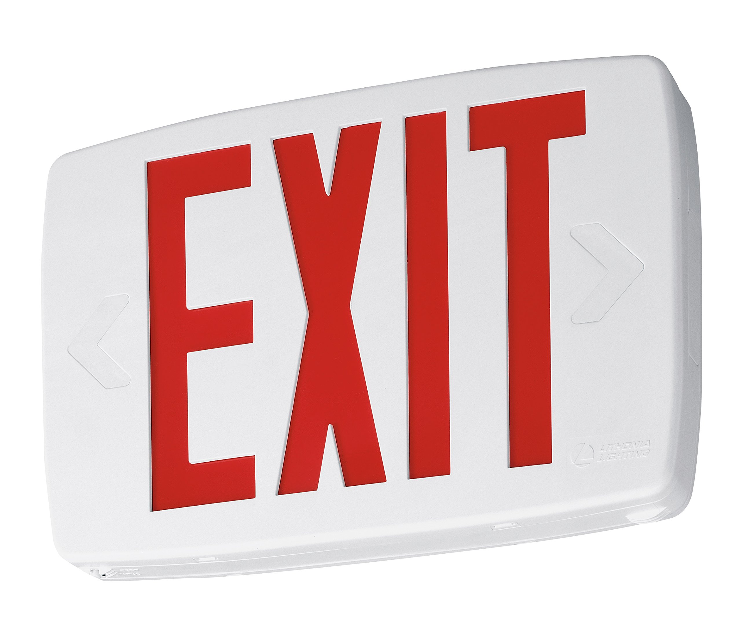 Lithonia Lighting LQM S W 3 R 120/277 EL N SD M6 LED Exit Sign Emergency with Red Letters, White