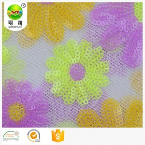 large flower 100%polyester sequin mesh embroidery lace fabric
