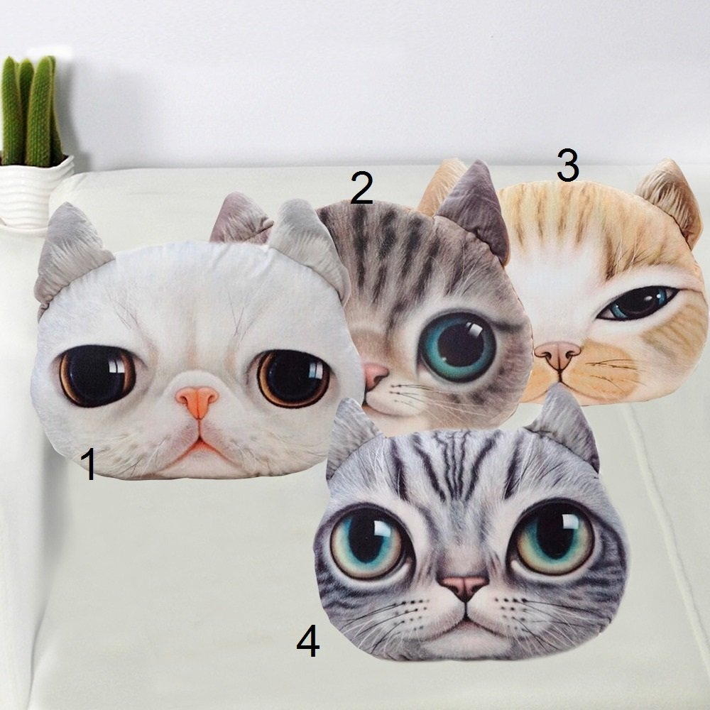 Cartoon Chair Sofa Pillow Personality Car Cushion Cover Creative Handsome Cat Shape Nap Pillow Cover Cute Seat Cushion 1PCS