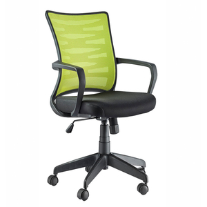 Mid back black frame computer mesh office furniture swivel clerk chair with fixed armrest