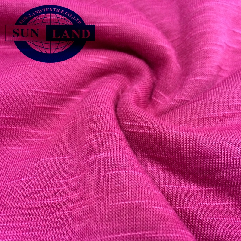 yoga sport fashion t-shirt clothing cotton soft hand feel like CD cation polyester melange single jersey knit fabric