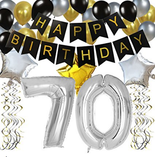 70TH Birthday Party Decorations Kit Black Happy Banner Silver 70 Mylar Foil Balloon Star Latex Hanging Swirls