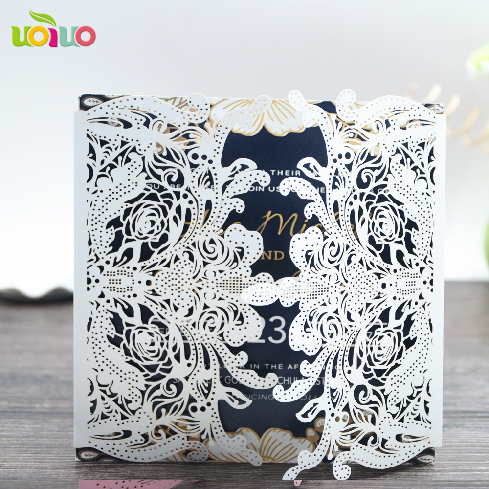 Party decoration laser cut pink royal wholesale blank wedding invitations with envelope