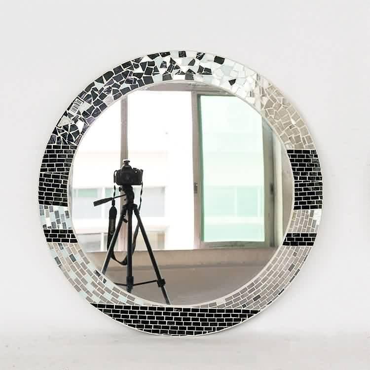 Norhs Pared Artístico Circular Plata Brillante Mosaico De Vidrio ...