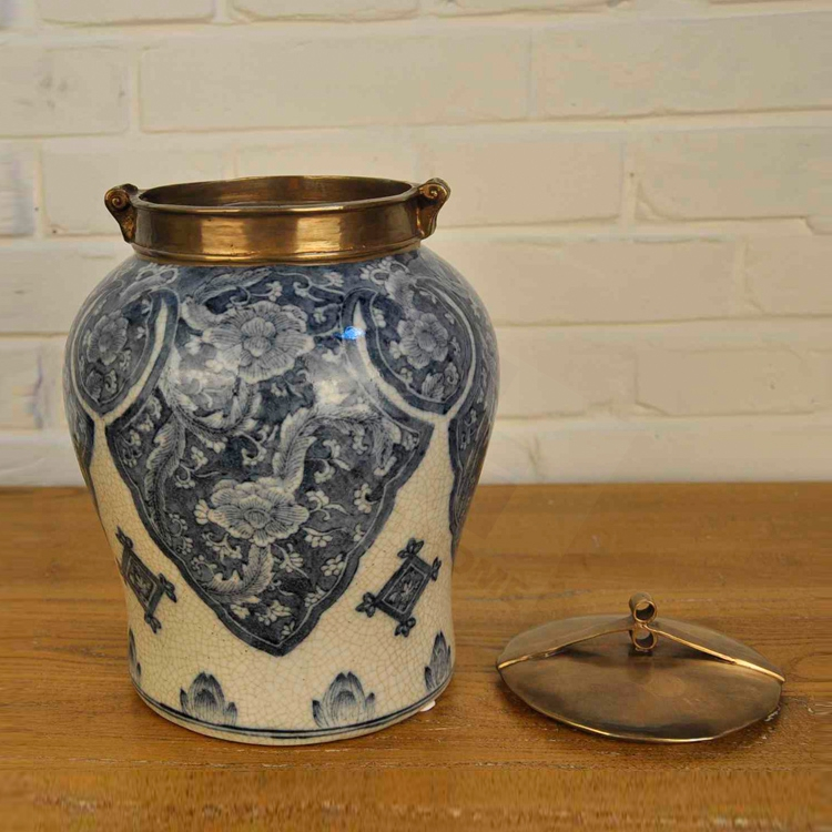 Дней Yazhu меди фарфор синий и белый фарфор чайница для хранения европейский декоративные украшения труба мягкий монтажа h