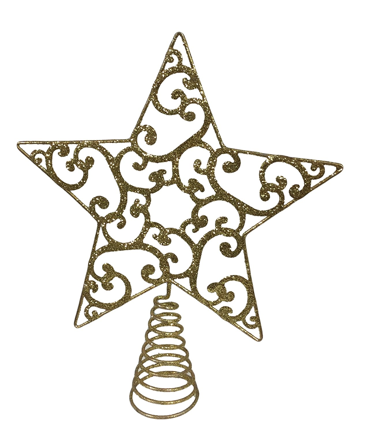 get quotations elegance gold wire filgree glitter star christmas house tree topper with pine scented tree ornament