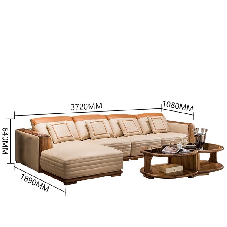 New Model Big Wood Frame Corner Lounge Sofa,Italian Genuine Leather Villa  Wooden Sofa Corner Set For Living Room - Buy Villa Sofa,Italian Wooden Sofa  ...