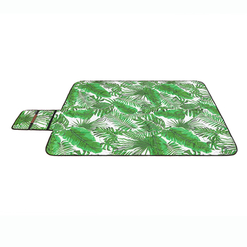 Roll Up Premium Extra Large Foldable Custom Green Leaf Picnic Blanket