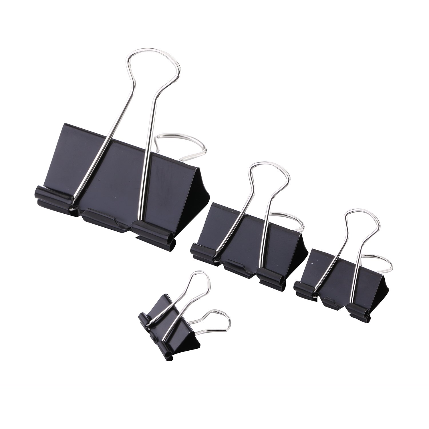 Dxg 40 Pieces Binder Clips Reusable Paper Binder Clips for Keeping Documents Together, 4 Sizes, Black