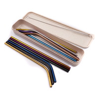 250x60mm ECO Friendly Reusable Wheat Straw Convenient Portable Cutlery Storage Straw Box Case
