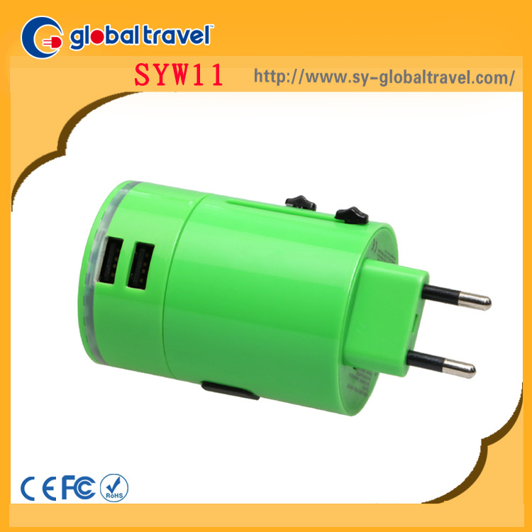 Global travel plug patent product CE ROHS FCC 5V 3.1A 2.1A and 1A world power travel socket adapter usb