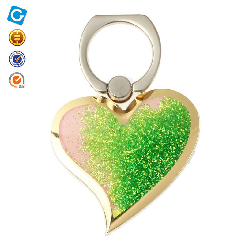 Custom 3D Liquid Bling Glitter Finger Ring Holder, Heart Design Quicksand 360 Degree Ring Holder For Smartphone